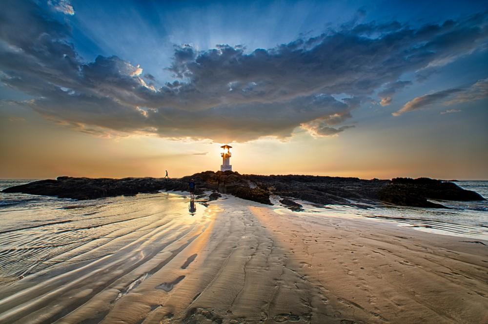Khao Lak beach and lighthouse at sunset