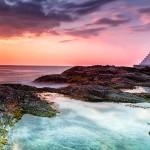 Khao Lak beach and lighthouse at sunset