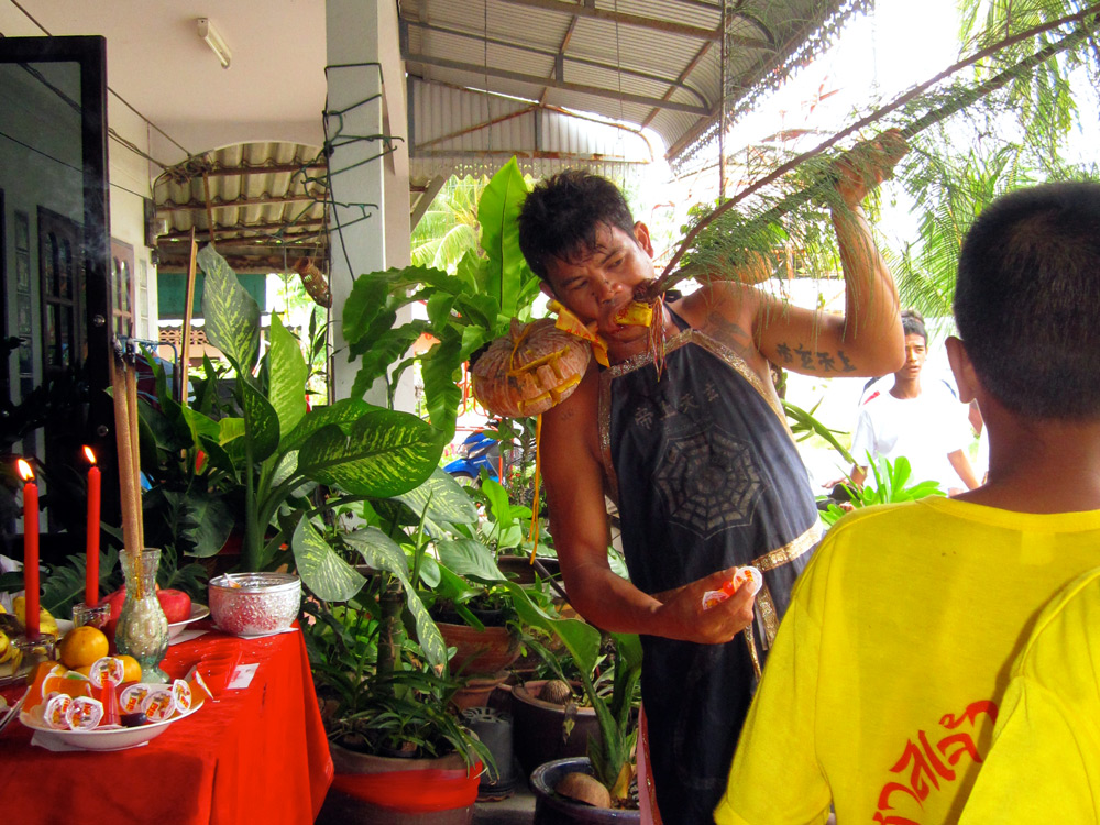 Mah Song visits households for blessings, Khao Lak, Thailand