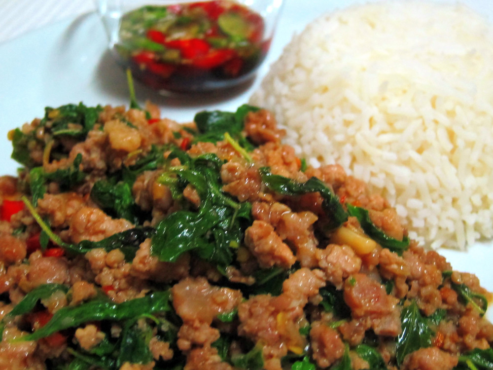 Pad Krapow is the Thai hamburger, a one plate dish. Thai cooking