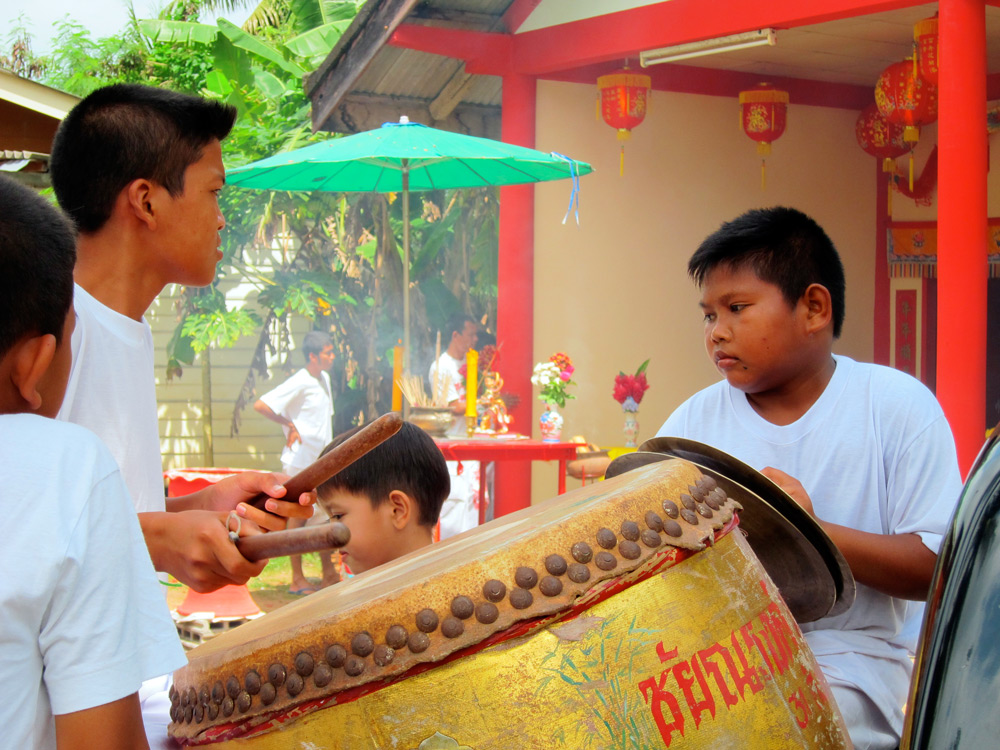 Chrildren and Instruments at the Vegetarian Festival, Khao Lak, Thailand