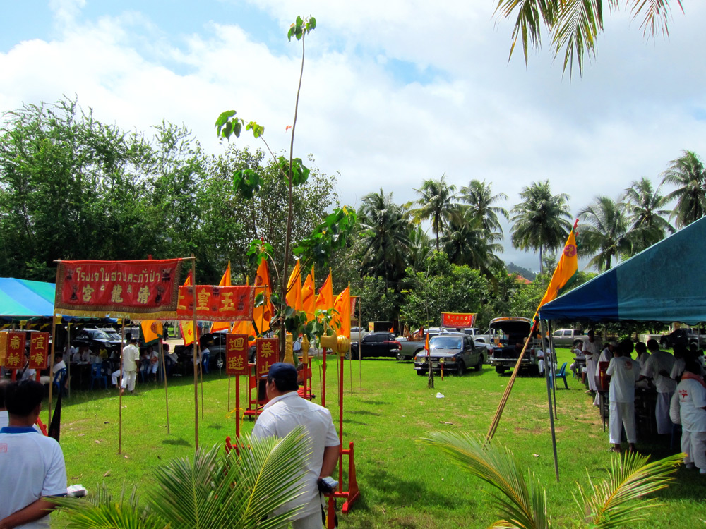 Preparations for Vegetarian Festival activities in Bang Niang, Khao Lak, Thailand