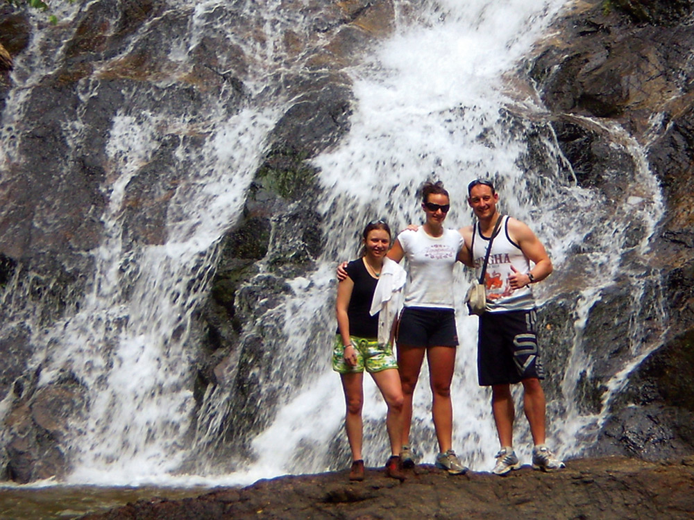 Cool down after mountain biking at the waterfall, Thai Muang Thailand