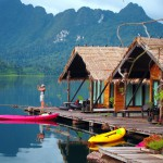Taking a photo a Khao Sok Raft house