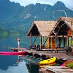 Taking a photo a Khao Sok Raft house