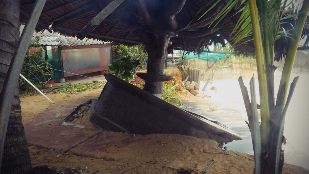 Storm and sea damage to a Khao Lak bar