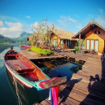 Khao Sok diving longtail boat at raft house