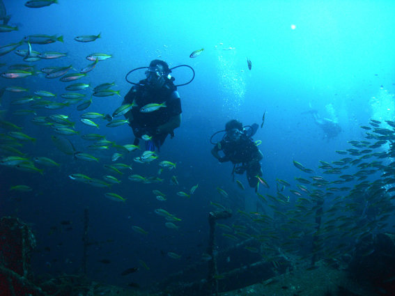 Divers at King Cruiser Wreck in Thailand