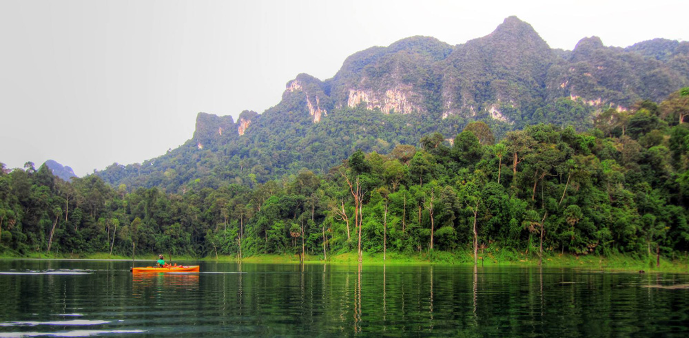 Lone kayaker at Khao Sok Lake