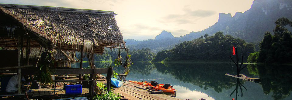 Raft house at Khao Sok Lake