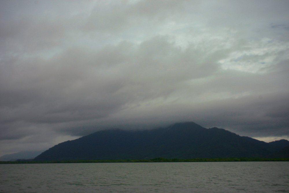 Low clouds over the hills near Tung La On, Thailand