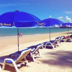 Sunloungers on the beach at Khao Lak