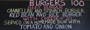 Burger menu at Mars Bar Café in Khao Lak