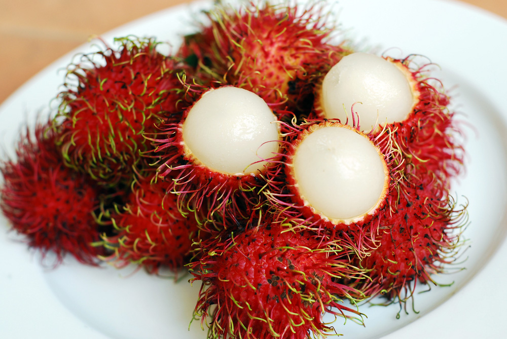 Open rambutan fruit