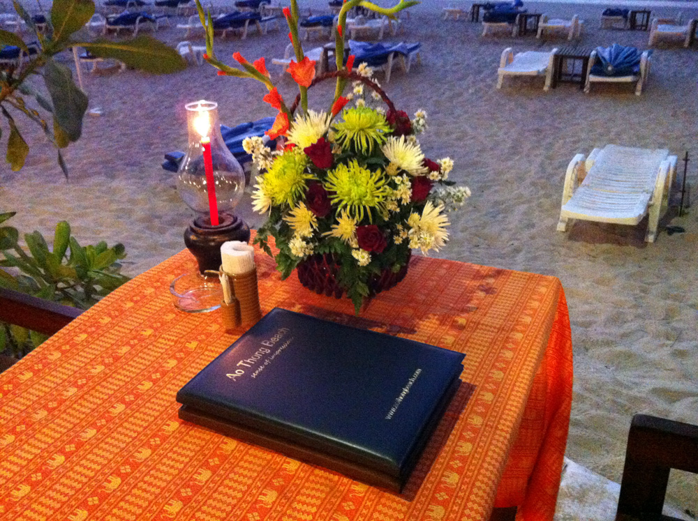 Beach side table in Khao Lak