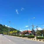 Blue skies over Khao Lak High Street